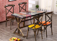 Wood Like X Back Stylish Metal Restaurant Chairs With Brown Leather Seats