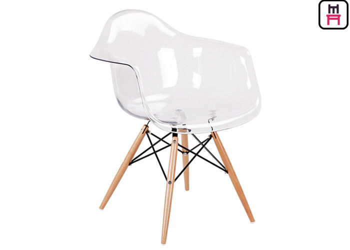 Custom Cafe Restaurant Eames Plastic Chair ABS Fabric Seat With Wooden Legs