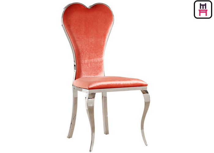 Velvet Gold / Silver / Chrome Stainless Steel Restaurant Chairs With Red Heart Back