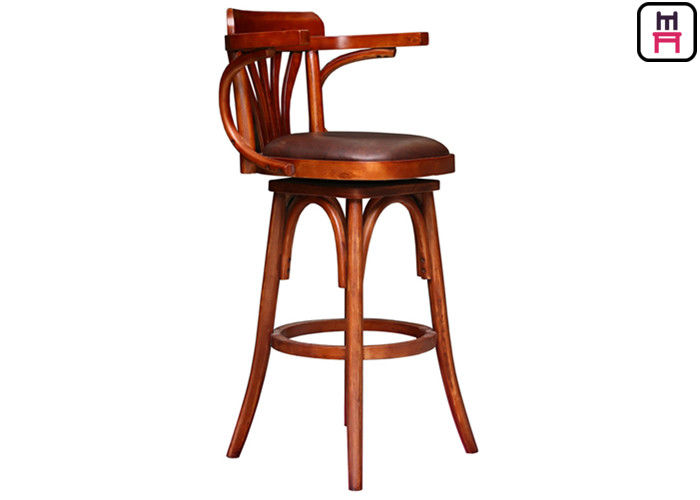 Rustic Vintage Restaurant Bar Stools Solid Wood / Metal For Cafe / Salon / Hotel