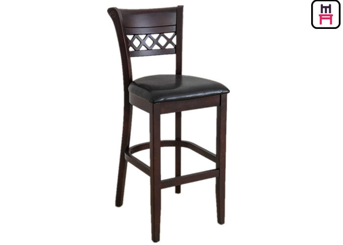 Grating Leather Seats Restaurant Supply Bar Stools , Traditional Oak Wood Bar Stools