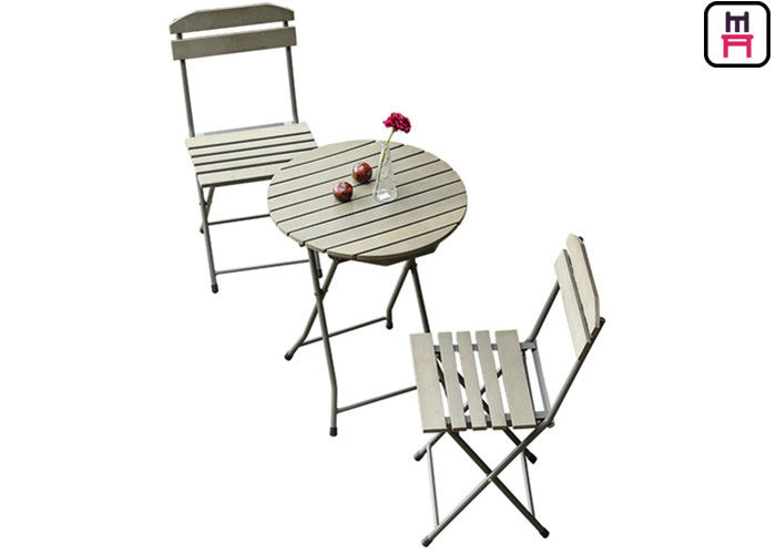 Plastic Wood Folding Patio Dining Table And Chairs , All Weather Garden Furniture