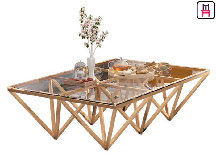 Indoor Tempered Glass Top Stainless Steel Coffee Table With Triangle Geometrical Base