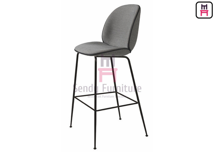 Customized Restaurant Bar Stools , Gray Velvet Upholstered Bar Stools With Iron Legs