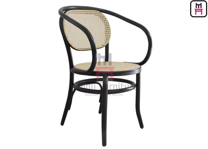Curved Armrest Outdoor Restaurant Chairs / Bentwood Black Mesh Dining Chairs