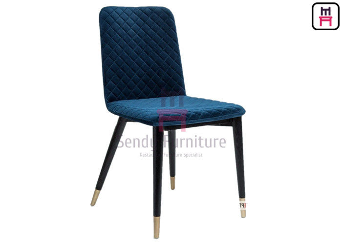 Firm Structure Solid Wood Restaurant Chair Rhombus Pattern Velvet With Armerest