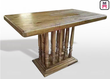 Vintage Rectangle Restaurant Dining Table With Rustic Solid Wood Roman Column